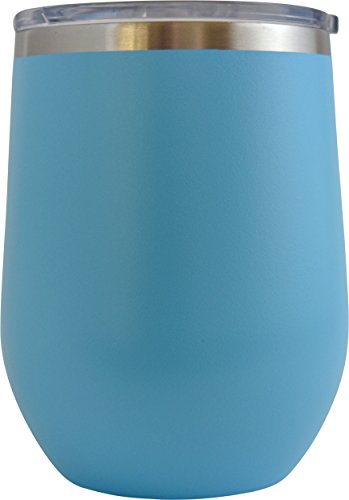 Polar Tumbler [20 oz 30 oz Double Wall Stainless Steel Vacuum Insulation] Travel Mug [Crystal Clear Lid] Water Coffee Wine Cup - Home,Office,School - Works Great Ice Drink (Baby Blue, 12 oz wine)