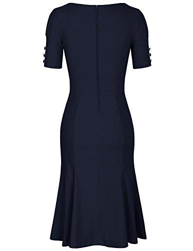 MUXXN Womens Classy Tie Collar Sheath Tea Length Dress with Sleeves (Blue L)