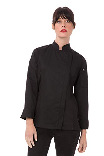 Chef Works Women's Hartford Chef Coat, Black, Large