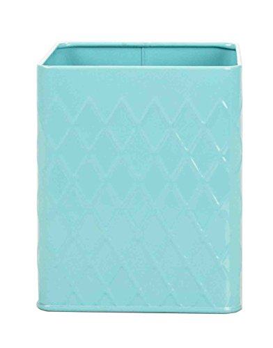 Home Basics Tin Kitchen Food Storage Organization Canister Collection (Utensil Holder, Turquoise)