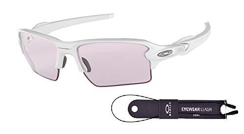 Oakley Light - Oakley Flak 2.0 XL OO9188 918888 59M Polished White/Prizm Low Light Sunglasses For Men+BUNDLE with Oakley Accessory Leash Kit