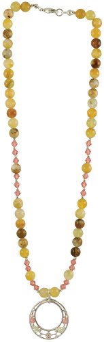 Black Hills Gold & Silver Gemstone Necklace Double Circle Design