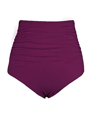 Firpearl Women's Retro Solid High Waist Ruched Bikini Bottom Swim Brief US8 Burgundy ()
