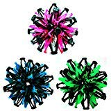 Set of 3 Expandable Sphere Balls Toy~Neon Colored Blue, Pink & Green~Hand Catch Flower Balls~Great Gift for Kids!