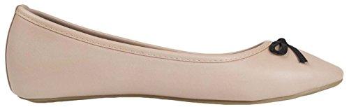 Lora Dora Womens Flat Pumps Ladies Glitter Metallic Ballet Ballerina Dolly Work Shoes Size UK 3-8 Nude PU LCN05fb