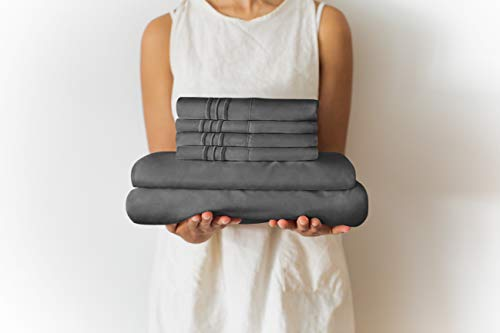 Full Size Sheet Set - 6 Piece Set - Hotel Luxury Bed Sheets - Extra Soft - Deep Pockets - Easy Fit - Breathable & Cooling Sheets - Wrinkle Free - Dark Gray - Grey Bed Sheets - Fulls Sheets - 6 PC