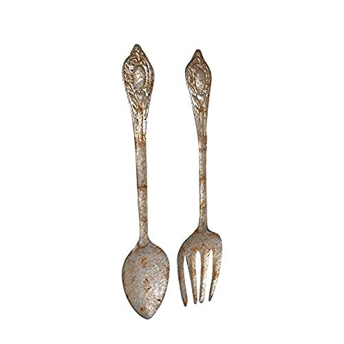 Kalalou Set of Large Metal Fork and Spoon Wall Decor, One Size, Gray ()