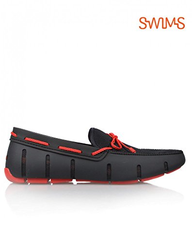 Mens SWIMS Mens SWIMS Black Loafer Braided Lace Red arr1dqw