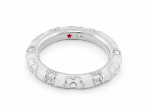Lauren G Adams Rhodium-Plated Stackable Pave Daisy Love Ring with Enamel