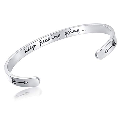 Bestwick Inspirational Bracelets for Women Cuff Bangle Engraved Keep Funking Going Birthday Friendship Gift Silver Plated