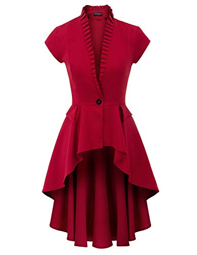 Women's Gothic Tailcoat Steampunk Jacket Tuxedo Suit Coat Victorian Costume S Red]()
