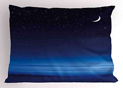 XGUPKL Night Pillow Sham, Moon and Stars Over Santa Barbara Channel Infinity Foggy Pacific Ocean, Decorative Standard Queen Size Printed Pillowcase, 30 X 20 inches, Dark Blue Sky Blue White