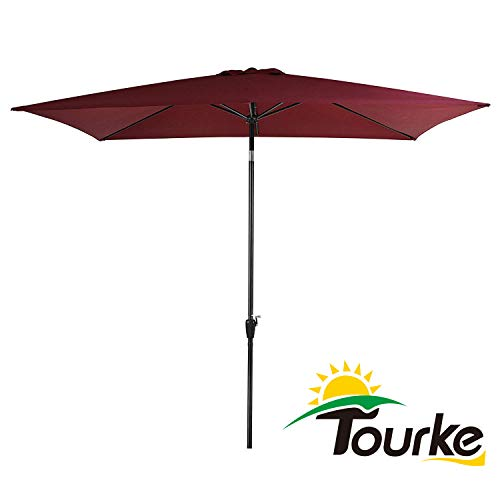 Tourke 10 x 6.5 Ft Patio Table Umbrella Outdoor Umbrella with Push Button Tilt and Crank, 6 Steel Ribs, for Garden, Deck, Backyard, Swimming Pool and More Wine