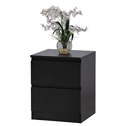 Fineboard FB-NS05-BK Modern Night Stand with 2 Drawers Bedroom Nightstand, Black ()