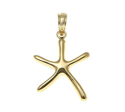 14k Solid yellow gold shiny polish Hawaiian seastar starfish charm pendant small 14k Yellow Gold Starfish Charm