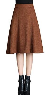 chouyatou Women Retro High Waist Perfect A Line Swing Wool Blend Midi Skirt