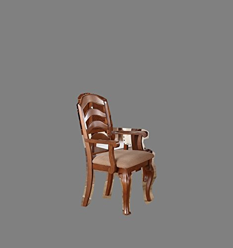 Poundex PDEX-F1398 Upholstered Arm Chairs in Oak Finish, Set of 2 ()