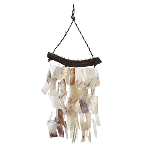 SandT Collection Placuna Shell Oyster Seashell Chime 6.5x11.5 Inches - Cream