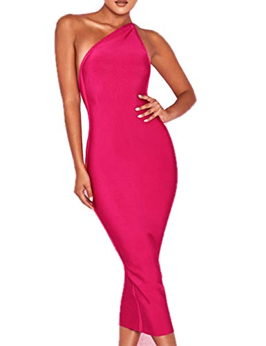 - Whoinshop Women's One Shoulder Bandage Evening Knee Length Cocktail Party Dress Pink S