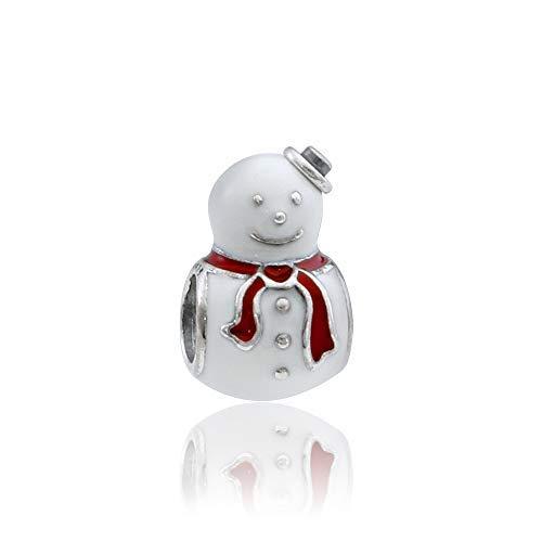 (Pandora Sterling Silver Happy Snowman Charm 791406ENMX)