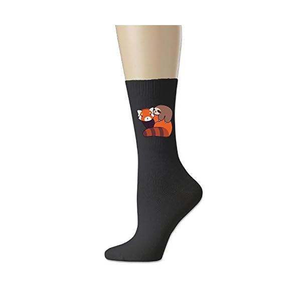 Little Sloth And Red Panda Thick Padded Walking Socks, Crew Socks,Medium -