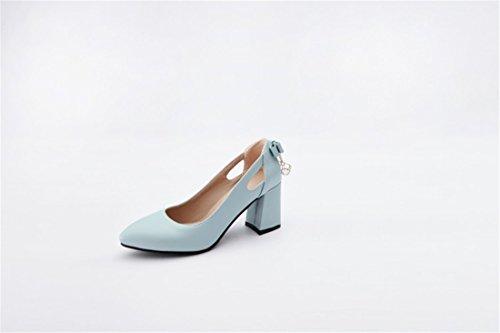 Otoño Grandes Primavera Mujer Zapatos de Fresca Astilleros de Pajarita blue Tacón Alto Pequeña Zapatos y Zapatos Durante la Talón el de pz1UI