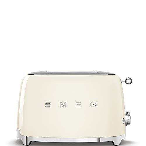 Smeg TSF01CRUS 50's Retro Style Toaster Bundle with Norpro Bamboo Tongs - (Cream) 2 Slice