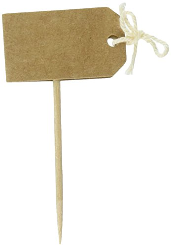 Ginger Ray Wedding or Party Vintage Brown Kraft Write your Own Cupcake Sticks/Toppers, Ivory - Cupcake Flags