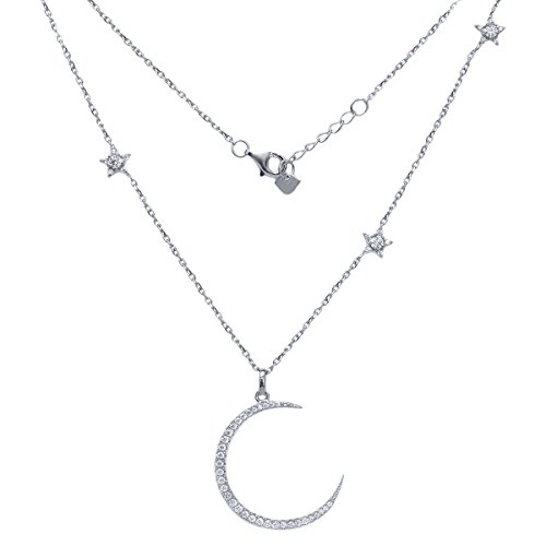 [Sterling Silver Half Moon and Stars Pendant Necklace with CZ Charm, 925 Silver, Adjustable Chain Length 16 Inch - 18 Inch] (Crescent Moon Pendant Necklace)