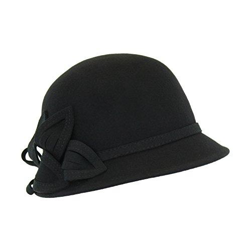 Black Wool Felt Vintage Style Cloche w/ Leaf Applique, Adjustable Flapper Cap (Burgundy Felt Bonnet)