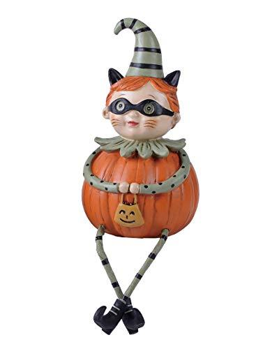 Transpac Imports D0853 Resin Trick-Or-Treat Pumpkin Man Shelf Sitter Figurine, Orange]()