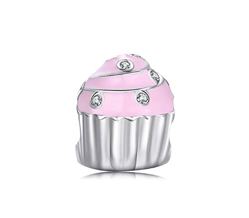 (EVESCITY Silver Sterling Beads Charms Fits Pandora & Similar Bracelets & Necklaces (Pink Cupcake))
