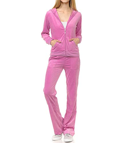ClothingAve. Women's Lightweight Hoodie & Sweatpants Velour Suit 2 Piece Loungewear Set , B. Pink, Large
