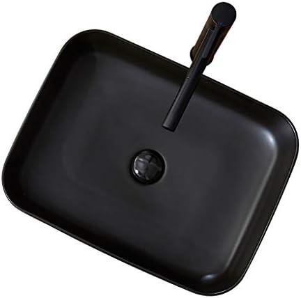 WJ 洗面台 バスルームの洗面台、(タップ無し)マットセラミック上記カウンタ流域浴室バルコニーブラックバニティ単一流域、51X39.5X14cm /-/ (Size : 51X39.5X14cm)