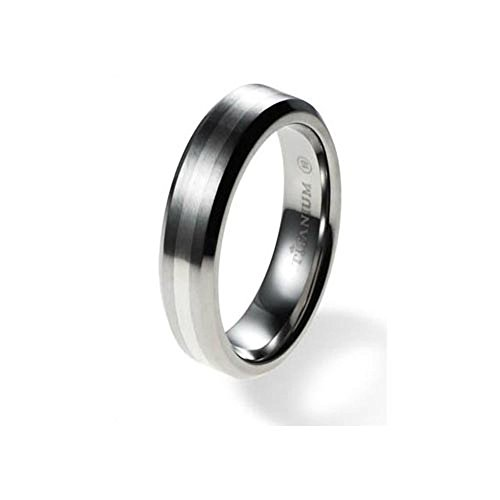 6mm Titanium Ring for Couples Center Sterling Silver Inlay Comfort Fit SZ 6-12 Free Engraving - Titanium Aircraft
