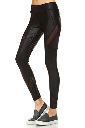 MONO B Women's Faux Leather Full Leggings with Contrast Mesh Panels Black ()