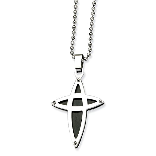 ICE CARATS Stainless Steel Black Plated Cross Religious Chain Necklace Pendant Charm Crucifix Fashion Jewelry Gifts for Women for Her