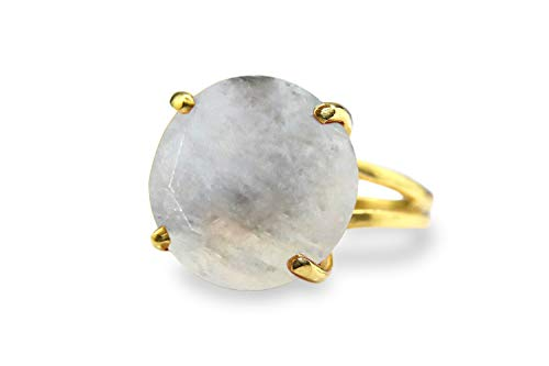 Anemone Jewelry 14K Gold Moonstone Ring - Classic Semiprecious Moonstone Gemstone Ring For Cocktails, Birthdays & Everyday Use - Elegant Gold Jewelry [Handmade] ()
