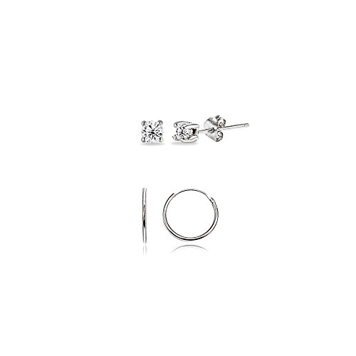 2 Pairs Sterling Silver 10mm Endless Hoops and 2mm Round CZ Stud Unisex Cartilage Earrings Set