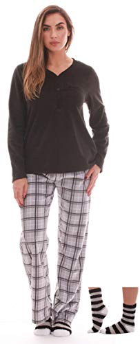 Just Love Henley Pants Set with Socks for Women 6732-10306-2X (Microfleece Button Front Shirt)