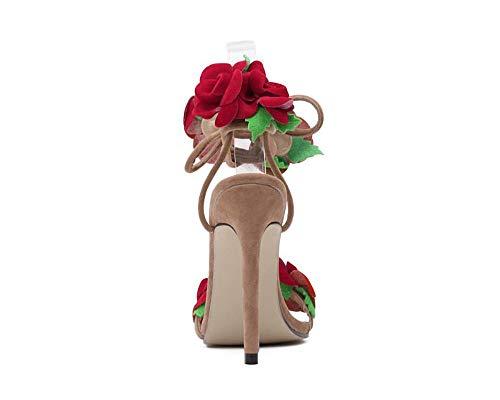 Cruz Albaricoque Flor Encaje Mujeres Alto Roja Las Sandalias Zapatos Tacón Rosa De OPpI6qf