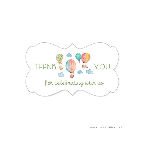 Air Balloon Packages Hot - Once Upon Supplies Hot Air Balloon Fancy Frame Stickers, Thank You for Celebrating with Us Rectangle Labels for Girl's Birthday Party or Baby Shower, 2.25x1.25, 36 Stickers