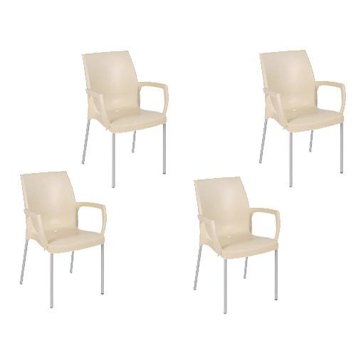 2 Adirondack Dining Chairs (Tensai Jade Armchair in Beige - Set of 4)