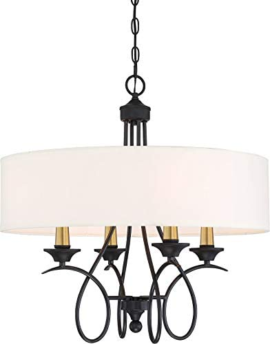 Minka Lavery 4074-676 La Courbe Chandelier, 4-Light, 240 Watts, Black with Antique Brass 25 H x 24 Dia
