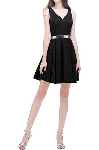 V De De Negro ctel Cuello C L De Una Vestido De Vestido De Dama Doble nea Sencillo Avril Correas fwTgUzqPyx