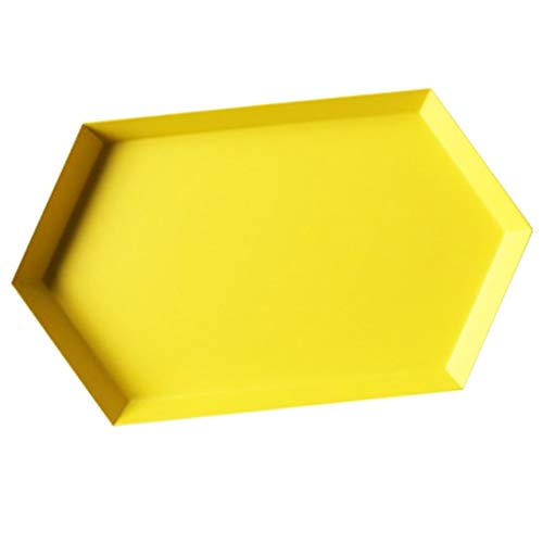 Flameer Stainless Steel Plate Geometric Series Diamond Shaped Tray Home Modern Decor - Yellow L