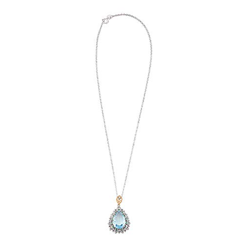 Clearance Sale!DEESEE(TM)Simple Metal Natural Blue Topaz Geometric Water Drop Necklace Women's Jewelry
