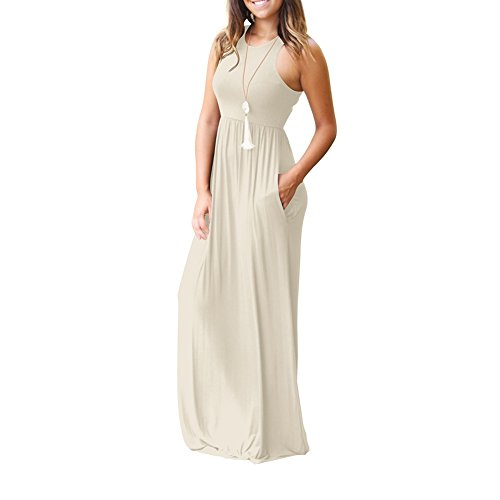 Bridal with Loose Women's Long Pockets Racerback Dresses Sleeveless Casual Apricot Dora awd46q8a
