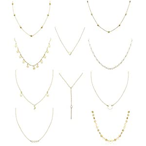 FUNRUN JEWELRY 10PCS Layered Chocker Necklace for Women Girls Multilayer Chain Necklace Set Adjustable