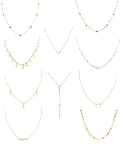 FUNRUN JEWELRY 10PCS Layered Chocker Necklace for Women Girls Multilayer Chain Necklace Set Adjustable (10PCS[Gold Tone])